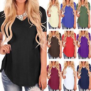 Women Plain Tunic Tops Blouse V-Neck Short Sleeve T-Shirt Summer Long Tee Shirts