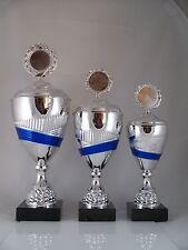 Pokal 3er Serie - inkl. Emblem & Schild mit Gravur - H 32 /36 /39 cm neu. Pokale