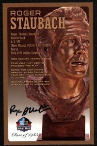 Roger Staubach Cowboys Signed Auto HOF Bronze Bust Postcard /150 Beckett COA