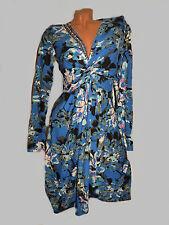NEU Trendy Kleid bügelfrei farbmix langarm Perlen  Gr 34 36 38 Gr S blau