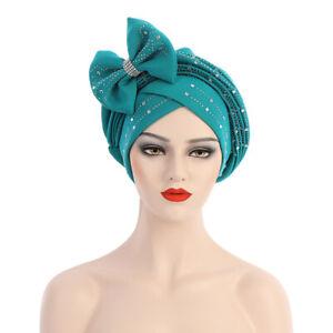 Womens Africa Bow Turban Cap Hijab Muslim Chemo Hat Bandana Head Cover