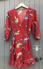 Womens Casual Evening Boho Party Red Floral Dress V Plunge Wrap Kimono Mini Tea