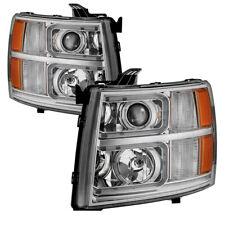 Chevy 07-13 Silverado Chrome LED Light Tube Style Projector Headlights Set