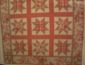 """American Beauty Quilt Fabric Kit 56"""" x 56""""  using RJR Soft Reflections Blue/pink"""