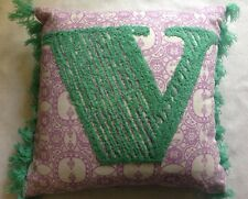 Marks & Spencer M&S Home Alphabet V Textured Fringed Mini Cushion Velvet 12''