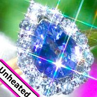 18K Gold 3.44ct UNHEATED Blue Ceylon Sapphire Diamond ESTATE Engagement Ring |↩