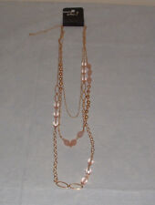 NWT Rue 21 Lovely Beaded Necklace Three Strand Gold Tone Chain Adjustable