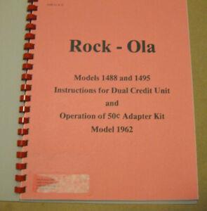 ROCK-OLA 1488 & 1495 JUKEBOX Dual Credit Unit 50c Adapter Kit Manual 1962 AMR
