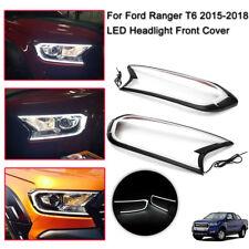 2x LED Car Head Light Front Cover Trim For FORD RANGER T6 WILDTRAK 2015-2017