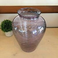 "Vintage Large 13"" Swirl Optic Glass Hand Made Vase Purple Lavender Pink"