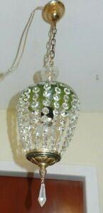 Alter Kristall Kronleuchter, Korbleuchter, Kristallglasbehang,  1 Flamme