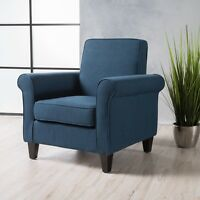 Declan Contemporary Upholstered Fabric Club Chair with Scrolled Arms