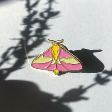 Rosy Maple Moth Enamel Pin, insect brooch, butterfly