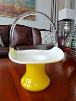 Vintage Murano Art Glass Cased Yellow LARGE Basket Candy Bowl