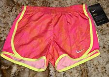 NIKE Tempo Dri Fit Printed Hyper Pink Volt Running Shorts Youth Girls 2 3 4 5 6X