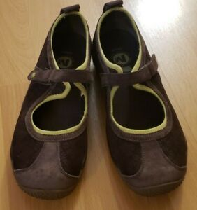 MERRELL CIRCUIT MJ BROWN PRINT MARY JANE SUEDE SHOES Sz 9.5