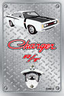 Pop A Top Wall Mount Bottle Opener Metal Sign - Hemi RT Charger - White