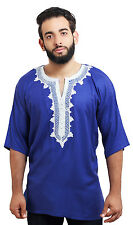 Men Tunic Shirt Cafan Moroccan Casual Handmade Embroidered Cotton Large Blue