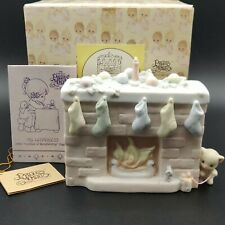 'Precious Moments 'Christmas Fireplace' Addition To Family Scene #524883 New