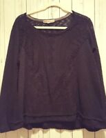Rewind Black Sheer Knit Long Sleeve Top Blouse size 1X
