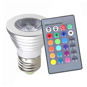 E27 RGB LED 16Color Changing 3W Spot Light Party Club Lamp Bulb + 24Key Remote