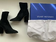 Stuart Weitzman Margot Ankle Boots Black Suede Barely Worn Sz 37