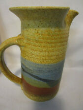 Vintage Mid-Century-Modern Handmade Studio Pottery Pitcher Earth Tones Signed
