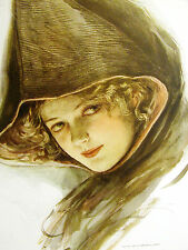 Harrison Fisher Girl w BLONDE CURLS Under Brown Wrap Hat 1909 Antique Art Matted
