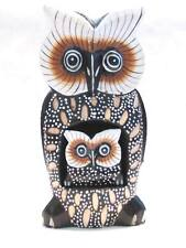"Wooden Owl Mom Baby Hand Carved Wood Bali Home Decor Sculpture 10"" #1866"