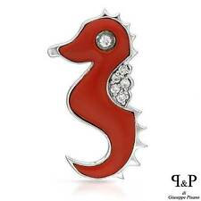 P&P SILVER Made in Italy Seahorse Pendant W/CZ &Red Resin in 925 Sterling Silver