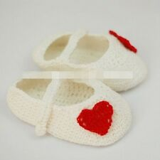 Baby Newborn Infant white shoes Crochet Knitting Knit shoes christening shoes