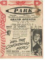 VTG 1945 PARK THEATER, ORCHARD PARK, NY MOVIE HANDBILL FLYER! BING CROSBY/CANTOR
