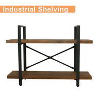 2 Tier Industrial Shelf Shelving Shelves Iron Storage Bracket Bookshelf Bookcase