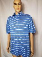 FJ Footjoy Golf Polo Shirt Blue White Striped Mens Athletic Fit Size Medium S/S
