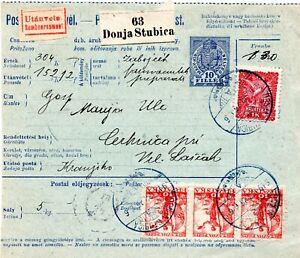 CROATIA SHS 1919 - PARCEL CARD FROM DONJA STUBICA