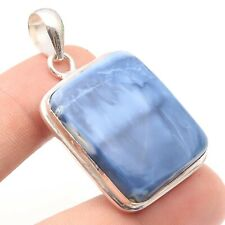 "Necklace Pendant 1.9"" Jewelry T5936 Owyhee Blue Opal Sterling Silver Plated"