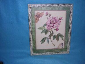"""Susan Welsh 1993 Floral Art Work Pink Flower, 8"""" x 10"""" on Wood"""
