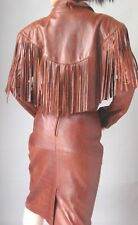 DISTRESSED BROWN FRINGE LEATHER DRESS SUIT - JACKET and SKIRT - SIZE M 10