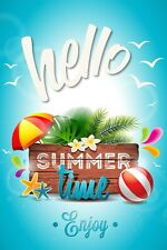 Hello Summer Time Enjoy Garden Flag Banner 12x18 2-Sided Heavy Duty Yard Decor