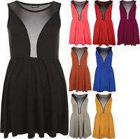 New Ladies Mesh Skater Sleeveless Mini Dress Elasticated Waist Womens Top 8-14