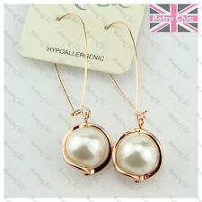 ROSE GOLD FASHION elegant PEARL DROP EARRINGS 6cm long CREAM drops dropper retro