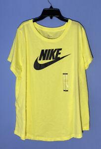 RARE! Women's Nike Sportswear Yellow Cotton Logo T-Shirt CJ2301 712 Plus Size 1X