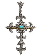 Silver Victorian Cross Pendant Jewelry 3.95ct Rose Cut Diamond Turquoise Studded