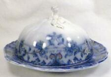 Manhattan Flow Blue Butter Dish Henry Alcock Semi Porcelain Antique A Beauty