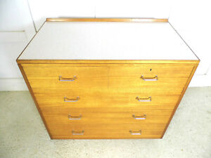 Vintage Retro Ex Military large Mahogany Formica Chest of drawers REMPLOY 70s B