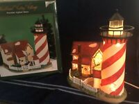 Heartland Valley Village Red Striped Lighthouse &Cottage O'Well Lighted Building