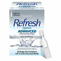 Refresh Optive Advanced Lubricant Eye Drops, Single-Use Containers, 30Ea