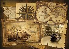 Vlies Fototapete Tapete Wandbild    Landkarte Schiff Dampfer Karte Vintage