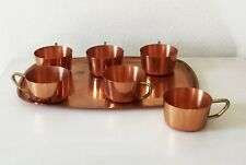 Copper Cups with Serving Tray Vintage