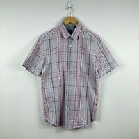 Hugo Boss Mens Button Up Shirt Size M Slim Multicoloured Plaid Short Sleeve